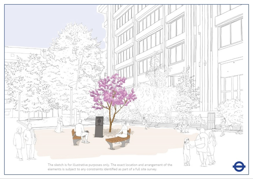 An artist's impression of the memorial, including a pink cherry blossom tree